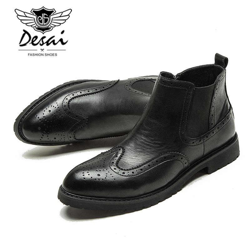 Desai Wees Laarzen Schoenen Mannen Klassieke Mode Gesneden Ontwerp Chelsea Laarzen Engeland Trend Carrière Werk Enkellaarsjes Botas Maat 38 -44