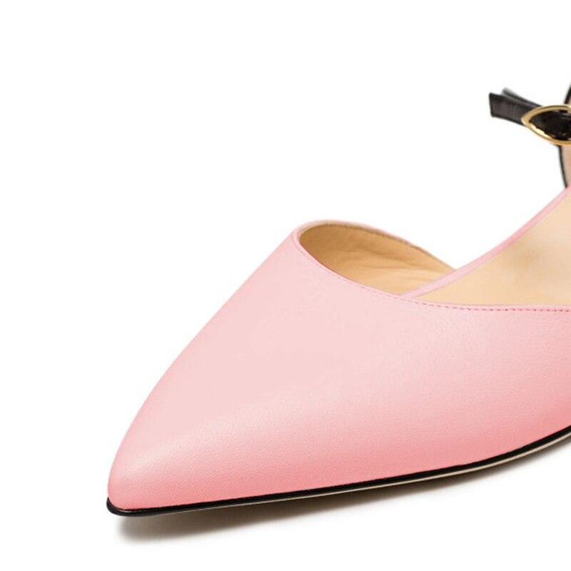 À Pointu Et D'orsay Double La Cheville Noir Appartements Chaussures En Bride Rose Femme Fsj Verni Mode Coloer Fsj01 Confortables Mixte Cuir vqUxXn