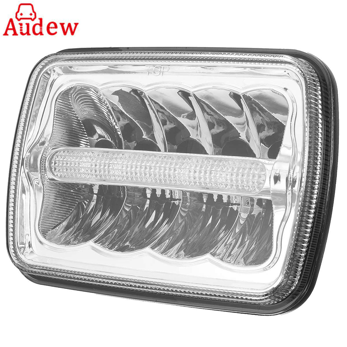 1Pcs 7x6 Inch Car LED Headlights H4 Bulbs XDR9 Crystal Clear Sealed Beam Headlamp w/DRL for Jeep/wrangler