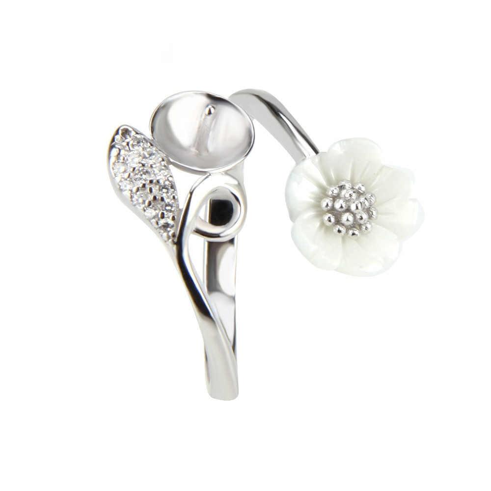 CLUCI เงินแท้ 925 แหวนดอกไม้สำหรับหมั้นแต่งงานเงินสเตอร์ลิง Zircon แหวนเครื่องประดับของขวัญ