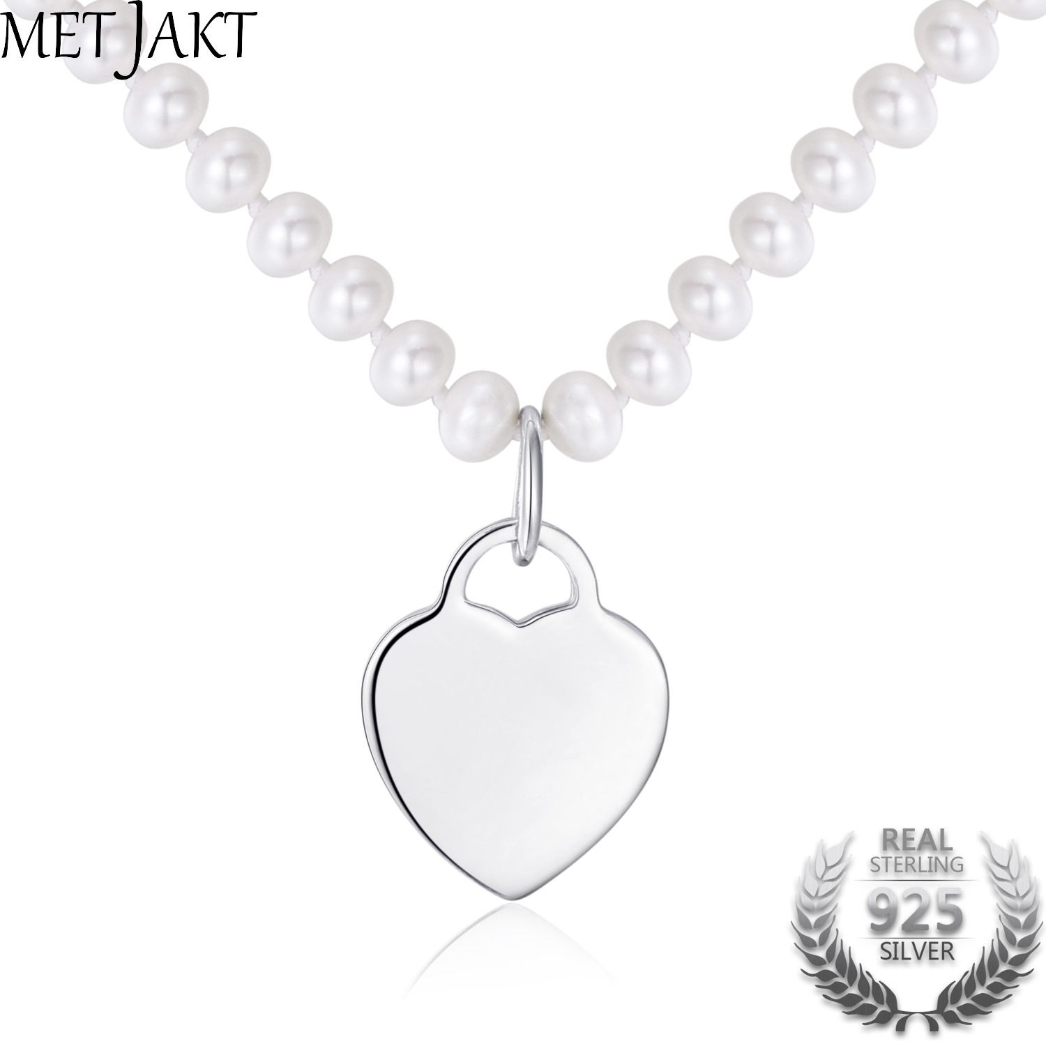 MetJakt Classic 18 Inch Natural Freshwater Pearls Heart Necklace Solid 925 Sterling Silver Silver Pendant for