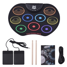 Electronic Drum Kit Roll-Up Drum Set 9 Silicon Drum Pads USB/Battery Powered With Drumsticks Foot Pedals For Children Kids цены онлайн