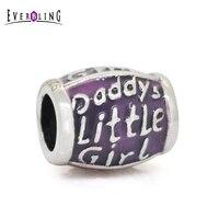 Enamel Daddys Little Girl Barrel 100% 925 Sterling Silver Charm Beads Fit European Charms Bracelet
