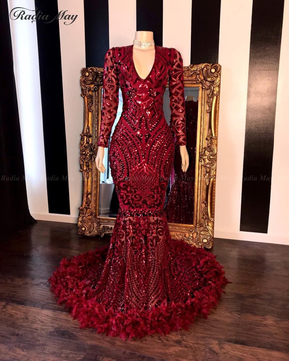 Burgundy Sequin Long Sleeves Mermaid African Prom Dresses Feathers Train V-Neck Plus Size Silver Evening Gowns Graduation Dress(China)