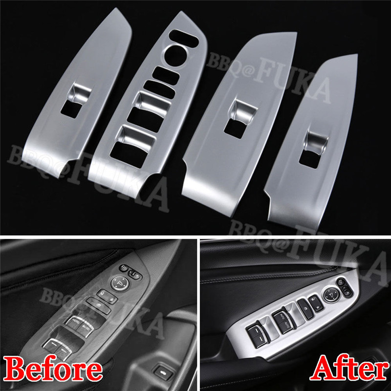 4pcs Chrome ABS Car Window Lift Switch Button Cover Trim Sticker Fit for <font><b>Honda</b></font> <font><b>Accord</b></font> <font><b>2018</b></font> Car Interior <font><b>Accessories</b></font> Styling image