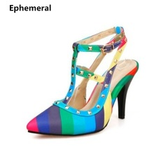 Lady's Buckle Patchwork Maximum size 34-52 Rivets Pointed toe high heels Shoes Sandalias Womens Pumps Red Bottoms Cinderella OL