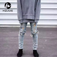 Kanye west представляют мужские европейский одежда slp мужчины голубой/черный дизайнер рок-звезда проблемные уничтожено разорвал узкие джинсы