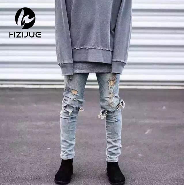 bca4ef988eb kanye west represent mens european clothing slp men light blue/black  designer rock star destroyed ripped skinny distressed jeans