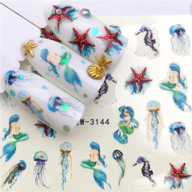 LCJ 1PC Nail Stickers Water Decal Animal Flower Plant Pattern 3D Manicure Sticker Nail Art Decoration