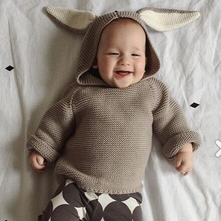Новые приходят дети ребенок Кролик свитер с капюшоном пуловер младенческой малыша балахон 100% хлопок