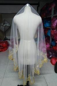 Image 4 - SHAMAIทองขอบลูกไม้Burgundy Red Wedding Veilsยาว 150 ซม.ความยาวชั้นเจ้าสาวงานแต่งงานWihtoutหวี