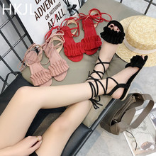 HKJL The new toe-opening pleated cross-strap low-heeled women's sandals from the 2017 summer fashion magazine big size43 A011 convertible strap low heeled mules