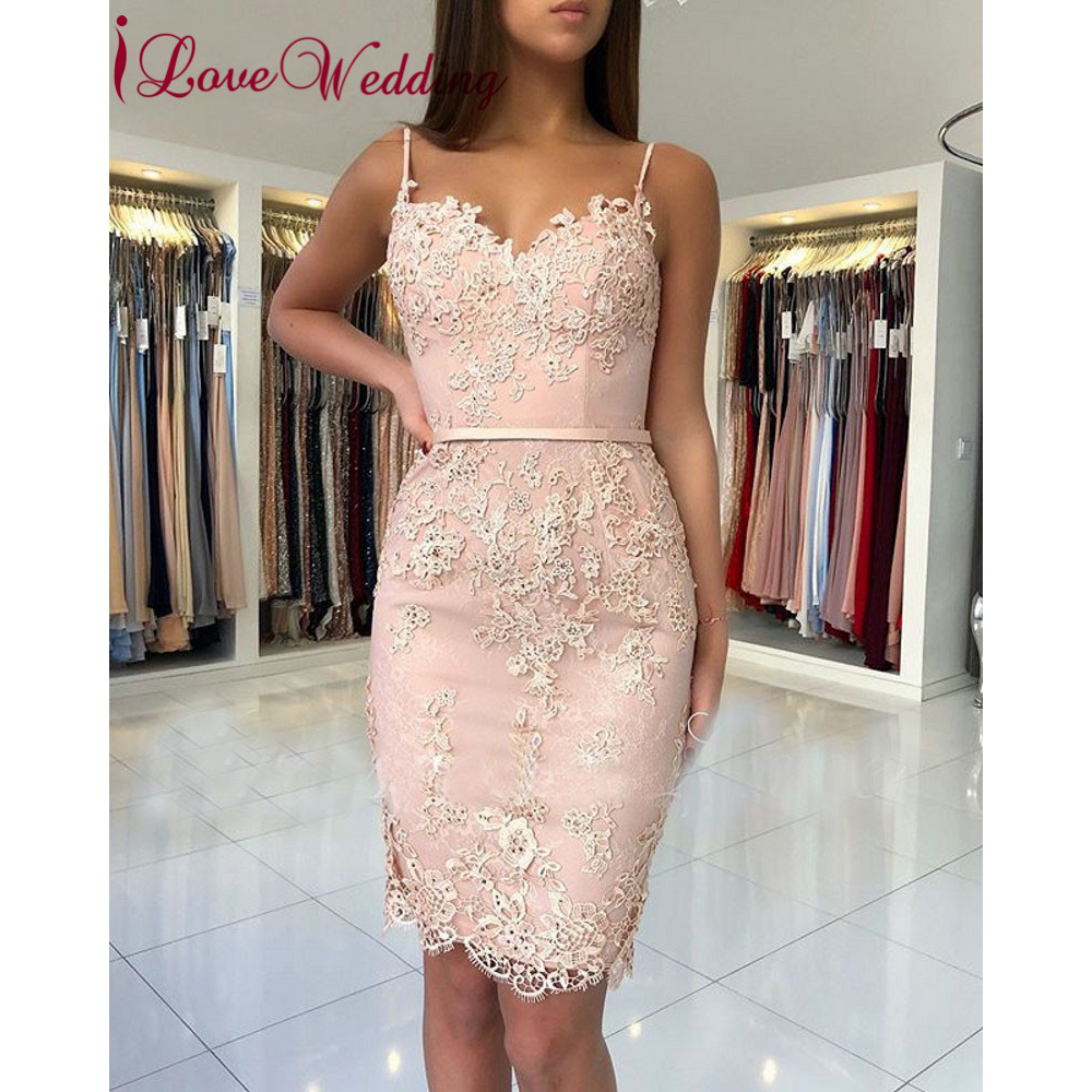 New Fashion 2019 Sexy Spaghetti Straps Pink Lace Applique Beaded Custom Made Knee Legnth Cheap Cocktail Dresses