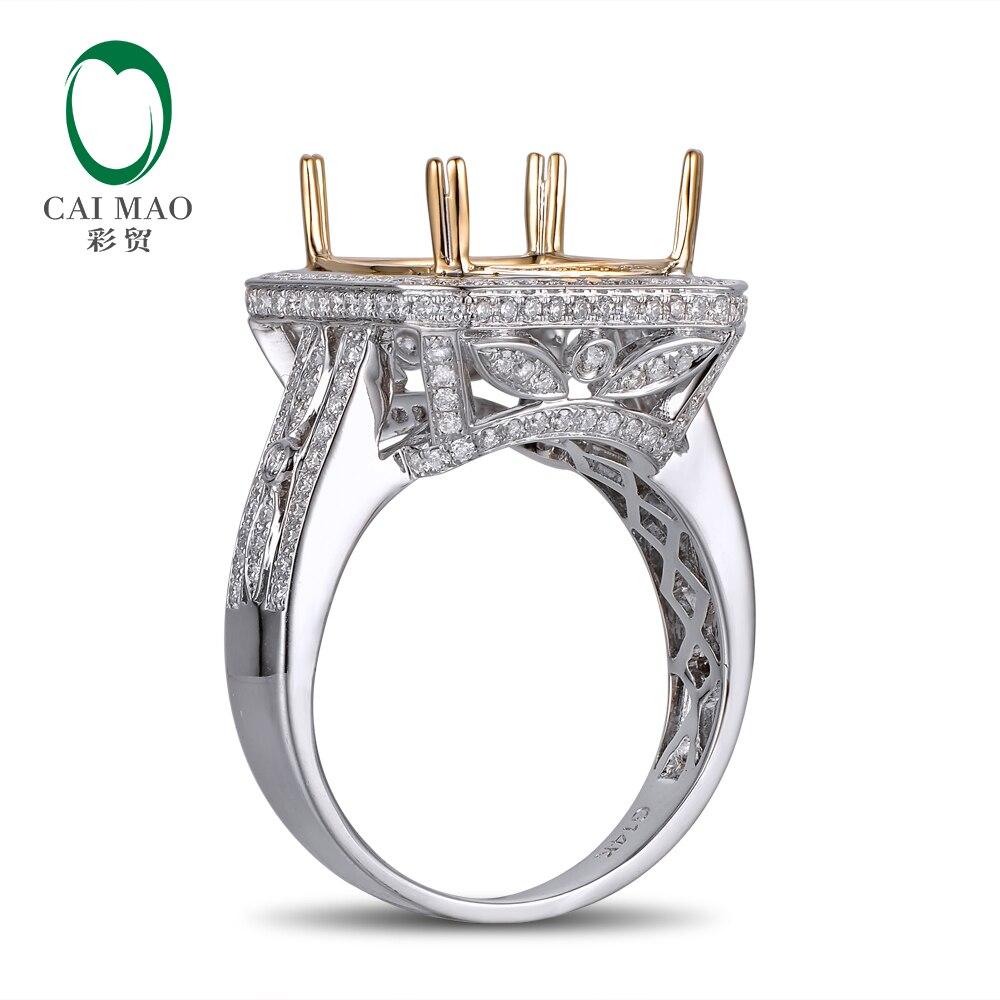 Anniverary 14K Gold Natural 0.9ct Diamond Engagement Ring Jewelry Semi Mount 12mm Cushion Cut Setting