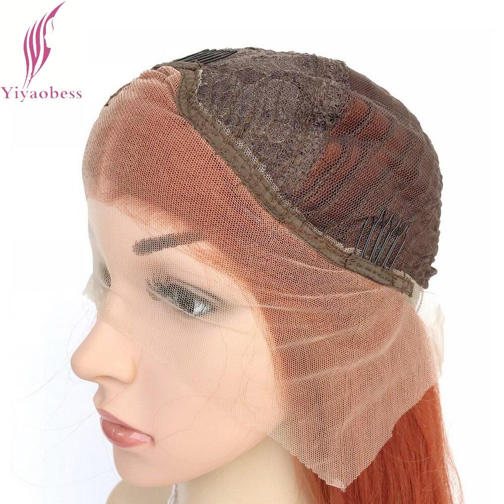 Yiyaobess Straight Syntetisk Snörning Fram Paryk Lång Orange Hår - Syntetiskt hår - Foto 6