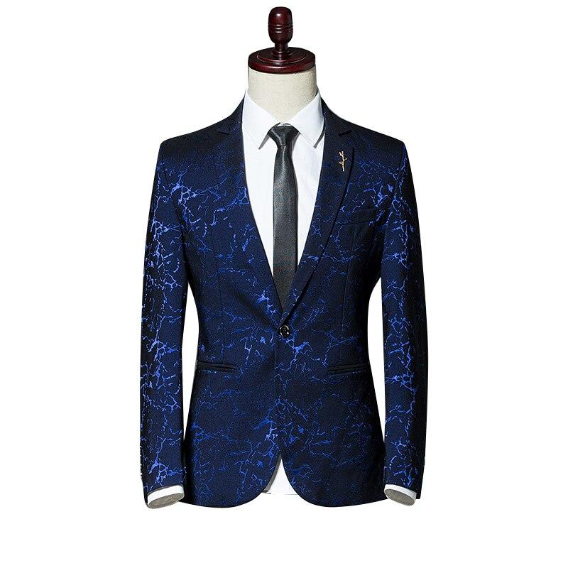 Herbst lange ärmeln männer anzug jacke Slim design Business casual männer Blazer Mantel Asien größe S 5XL herren jacken Rot Blau Schwarz-in Blazer aus Herrenbekleidung bei  Gruppe 1
