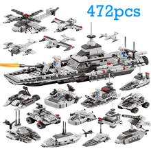 Military Naval Warship 472pcs Building Blocks Compatible LegoING Boys Friends Bricks Figures Kids Toys for Children Adult(China)