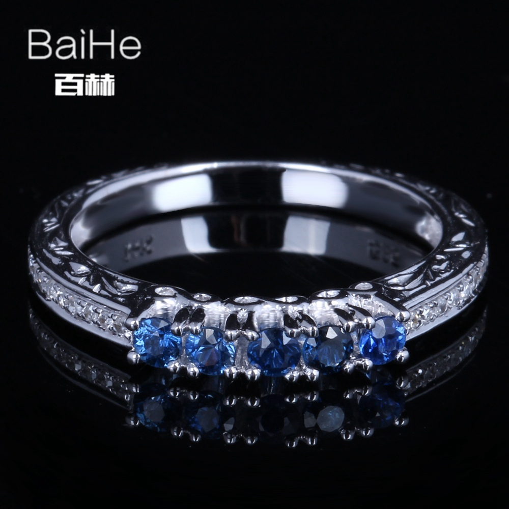 BAIHE Sterling Silver 925 0.45CT Certified H/SI Round Genuine Natural Sapphire & Diamonds Women Trendy Fine Jewelry fashion Ring
