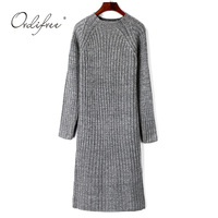 Ordifree 2018 Autumn Winter Women Long Knitted Dress Long Sleeve Jumper Knitwear Casual Long Sweater Dress