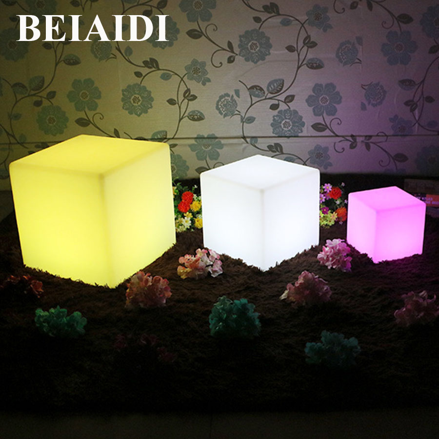BEIAIDI 16 RGB Colors Rechargeable Led illuminated Furniture Lamp Waterproof LED Cube Chair bar KTV Pub Plastic Table lighting sk lf06c rgb ip65 rechargeable led illuminated table lamp night light cube chair for club bar ktv pub hotel party event 1pc