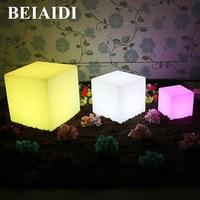 BEIAIDI 16 RGB Colors Rechargeable Led illuminated Furniture Lamp Waterproof LED Cube Chair bar KTV Pub Plastic Table lighting