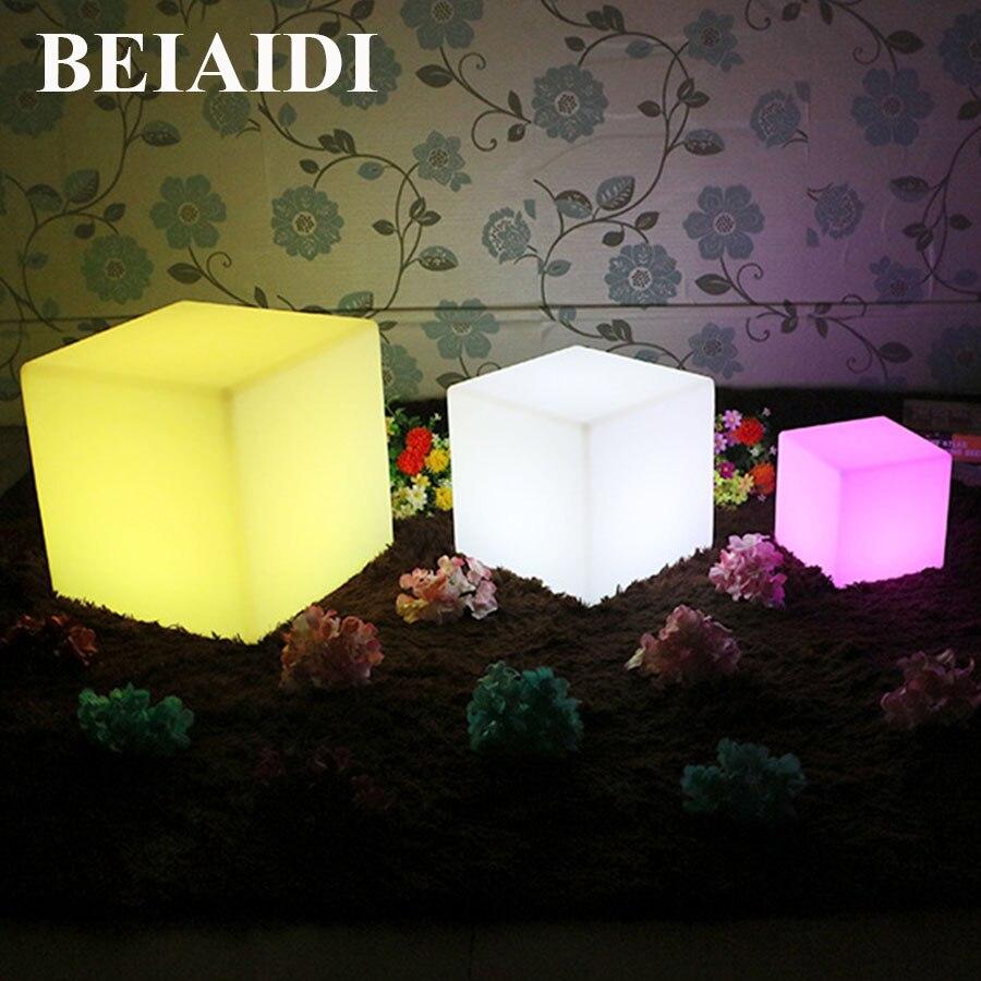 BEIAIDI 16 couleurs rvb Rechargeable LED lampe de meubles lumineux LED étanche chaise Cube bar KTV Pub éclairage de Table en plastique