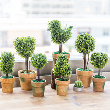 genie Mini Plastic Fake Faux Green Grass Simulation Artificial Plants with Pots for Home Decor