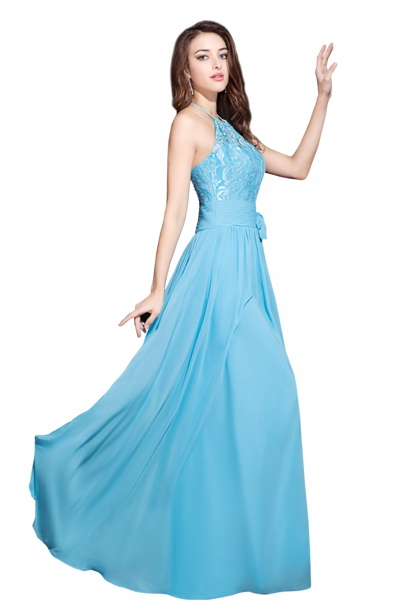 New Fashion Blue Halter Neck Lace Top Bridesmaid Dresses Sleeveless ...