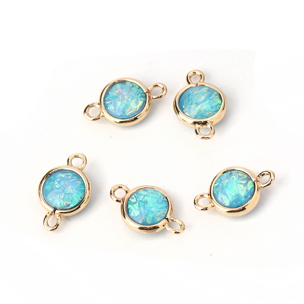 DoreenBeads Copper & Resin AB Rainbow Color Aurora Borealis Connectors Round Light Golden Skyblue 16 X10mm - 15 X9mm, 5 PCs