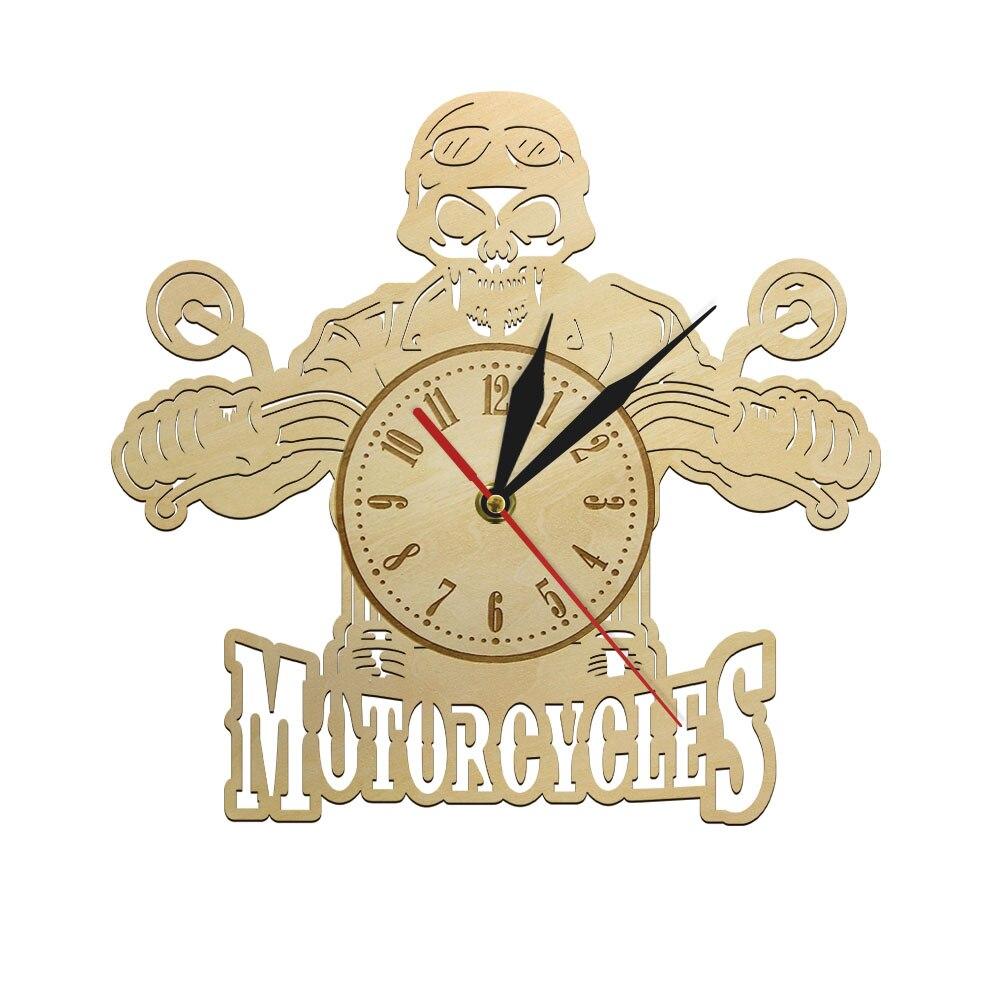 Skull Rider Design Decor Wall Art Motorbike Wooden Not Ticking Clock Watch Motorcycles Moto Perfect Handmade Rider Gift