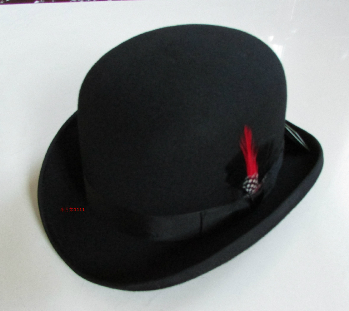 100% Wool Derby Hat Unisex Bowler Hats Wool Felt Fedora Hats Derby Bowler Hats Feather Decorate B-8134
