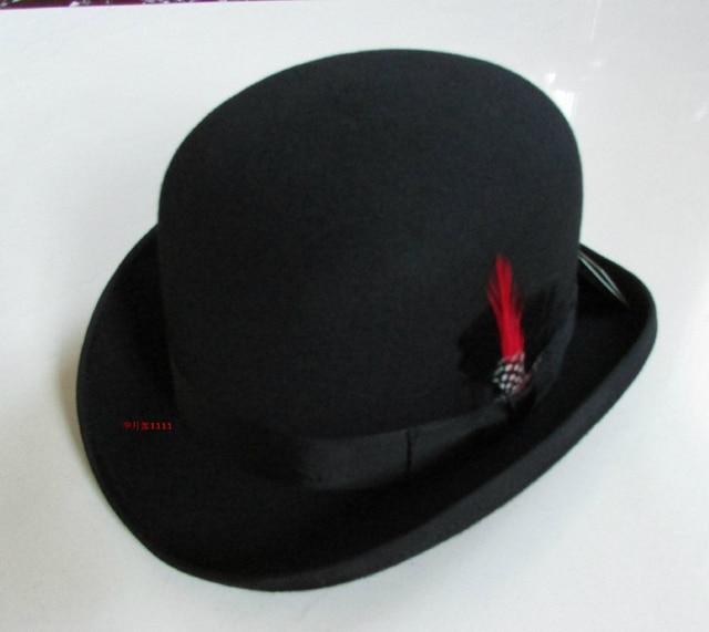 100% Wool Derby Hat Unisex Bowler Hats Wool Felt Fedora Hats Derby Bowler Hats Feather Decorate B 8134