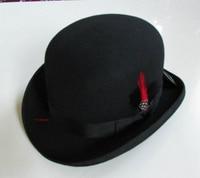 New 100% Wool Hat High Quality Fashion Men's and Women's Black Cap Bowler Hats Black Wool Felt Derby Bowler Hats B 8134