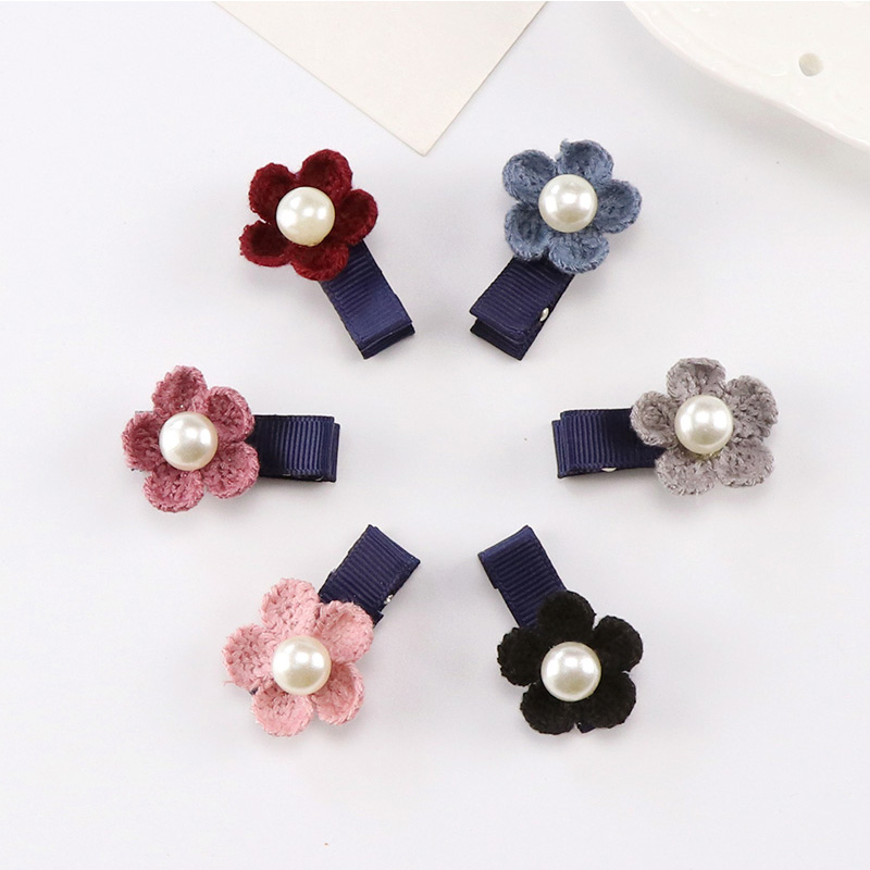 1PC New Fashion Little Girls Hair Clips Cute Flower Pearl Small Barrettes Kids Lovely Safety Hairpins Children Hair Accessories new 2pcs lot 1 pair girls women lovely cute golden alloy hair barrettes hairpins hair accessories