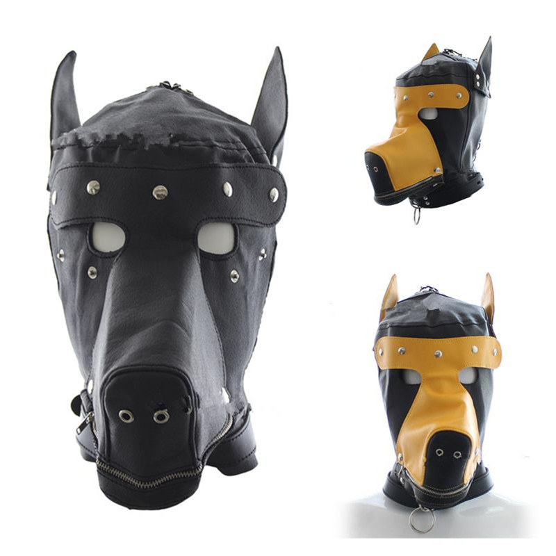 New Men Women Sexy Girls Cosplay Props Dog Mask Punk Full Face Zipper Helmet Sex Role Play SM Puppy PU Leather Master Rivet Mask