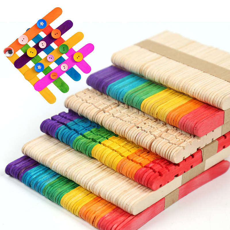 50pcs/lot Creative Wooden DIY Crafts Colorful Ice Cream Wood Sticks Match Stick Children Handmade House Toys Food DIY Materials