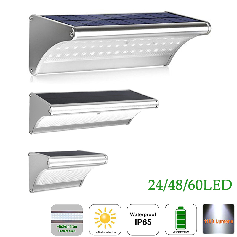 60 LED Solar Light Garden Lamp Radar Motion Sensor Solar Panel Powered Energy Wall Lamp  ...