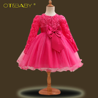 Baby Long Sleeve Baptism Dresses Christening Gowns Baby Girl Warm Clothing Newborn Gift 1 2 Years