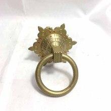 Hexagonal brass door handle round ring knob knocker wood glass  pull