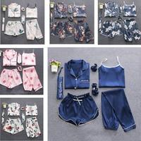 2019 7 Pieces Women Sleepwear Pyjama Set Autumn Winter Sexy Pajamas Sets Sleep Suits Soft Sweet Cute Nightwear Gift Home Clothes