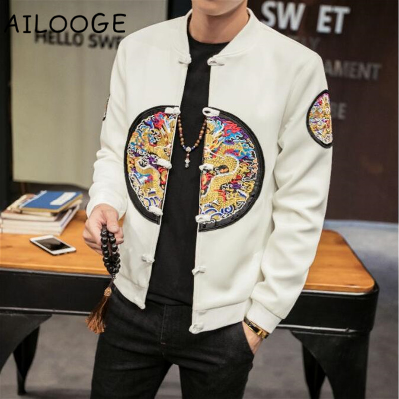 2018 Autumn Men Coats Chinese Style Dragon Embroidery Slim Fit Bomber Jacket Classic Retro Pan Kou Long Sleeve Jackets Men 5XL-M