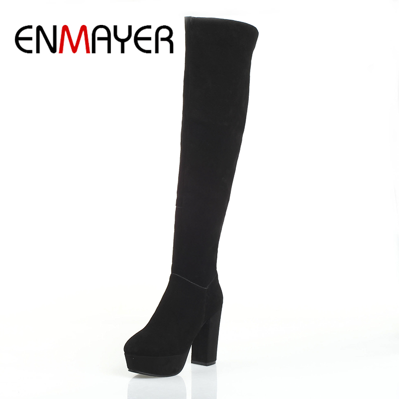 ФОТО ENMAYER Over-the-Knee Cow Suede Square Heel Super High Boots Ladies Round Toe Short Plush Slip-on Zipper Solid Plus Szie 34-39