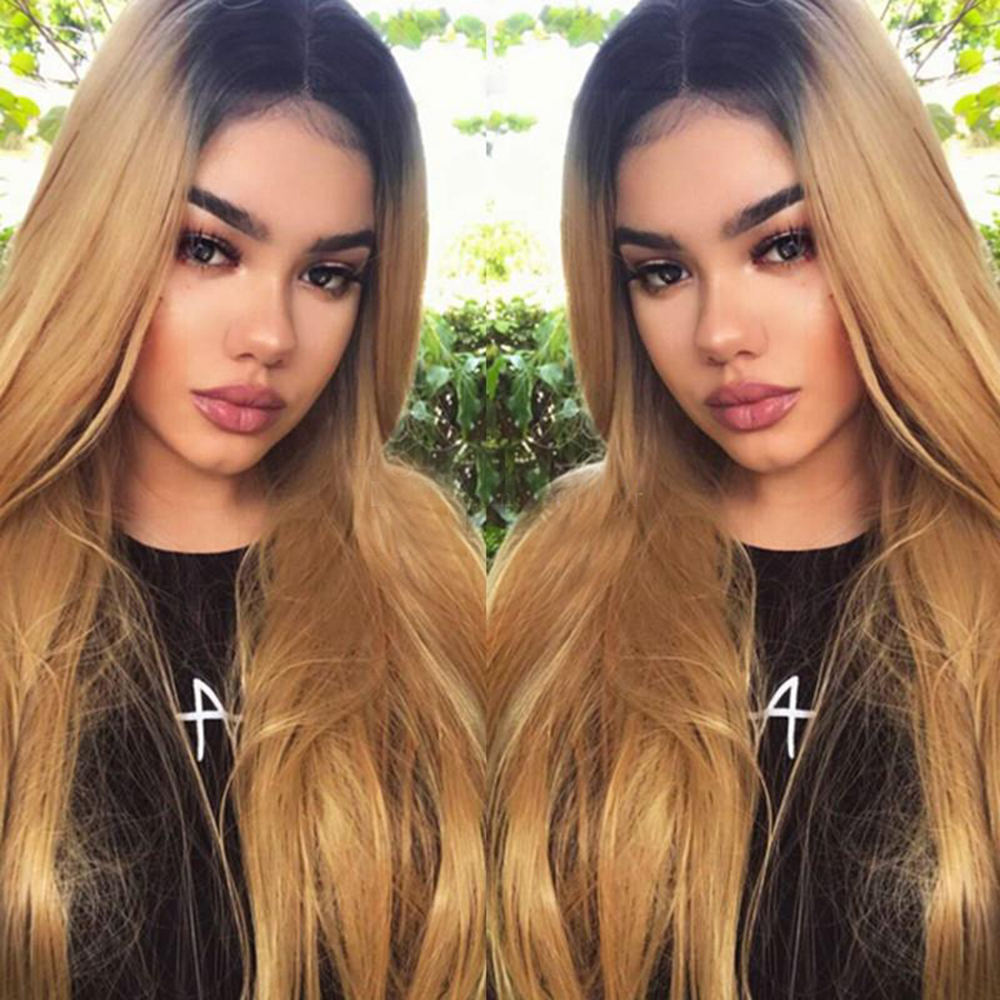 SimBeauty Brazilian Lace Front Human Hair Wigs For Women Remy Hair Straight Ombre Honey Blonde Full Lace Wig With Baby Hairline