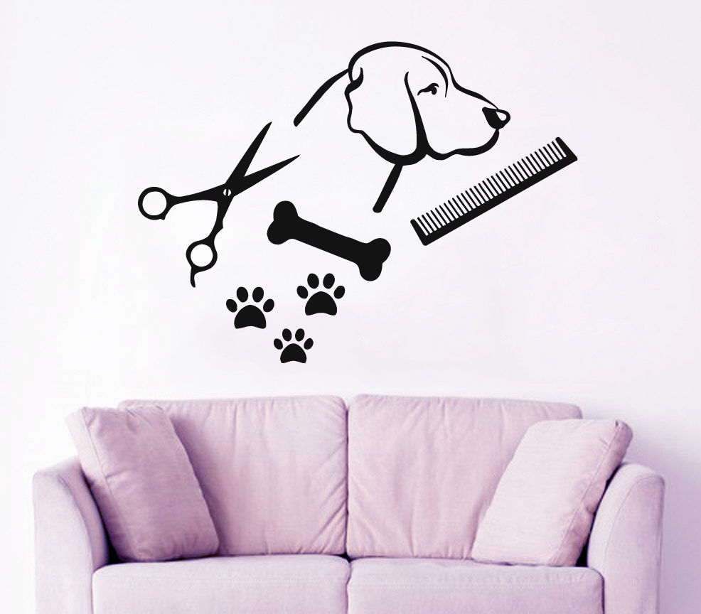 Dog Wall Decal Pet Shop Vinyl Sticker Paw Prints Pet Grooming Salon Decor
