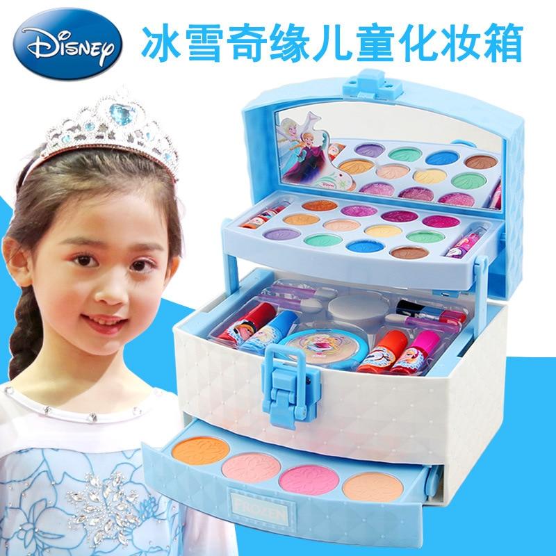 Girls Princess Frozen Elsa Anna Cartoon Cosmetic Case Makeup Car Set  Disney   Suitcase Lipstick Beauty Fashion Pretend Toys