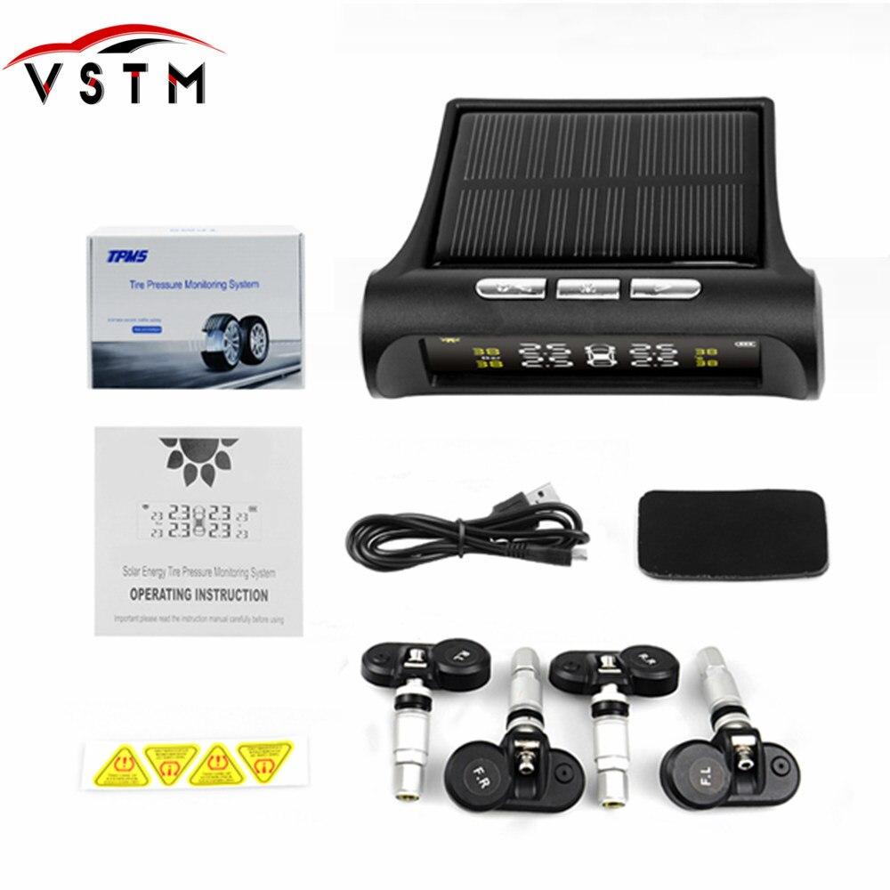 External / Internal Solar Power TPMS Car Tire Pressure Monitoring System LCD 4 Sensors for CARs Temperature Warning CAR Safety(China)