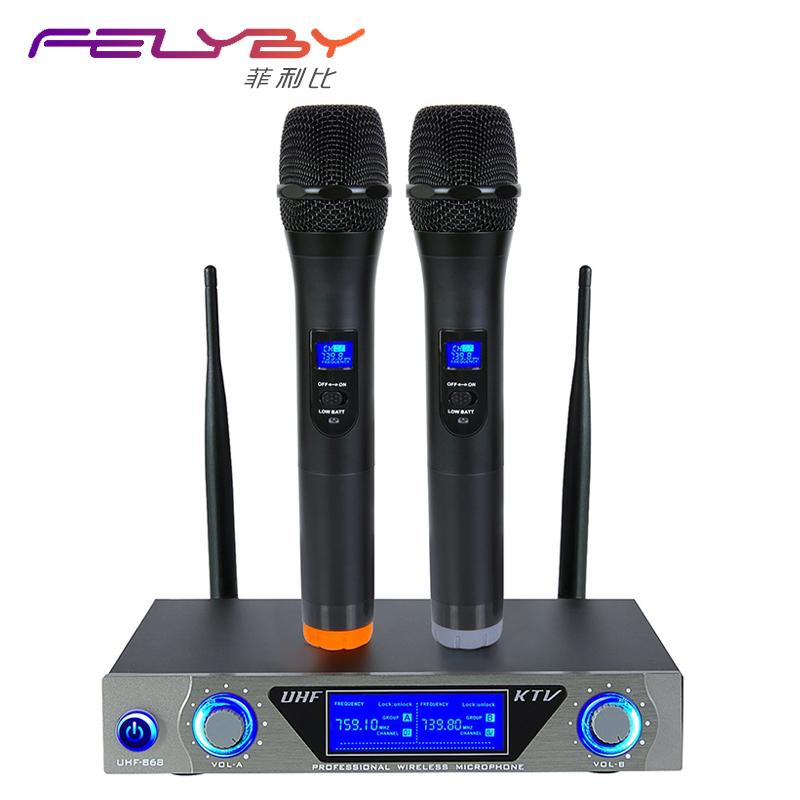 FELYBY VHF Handheld Wireless Microphone System With Dual Hand Held Dynamic Microphones For Karaoke Party Classroom