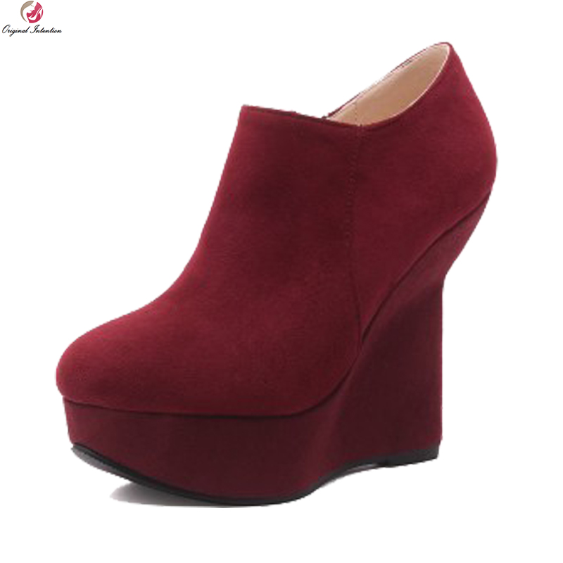 Original Intention New Novelty Women Ankle Boots Stylish Round Toe Strange Style Heels Boots Black Red Shoes Woman US Size 4-8.5 hot sale new arrival black red sheepskin zip sweet women boots round toe thin heels ankle shoes woman m 42