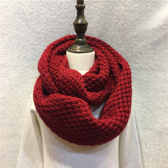Fashion Winter Knitted Handmade Infinity Scarf Warm Solid Pineapple ...