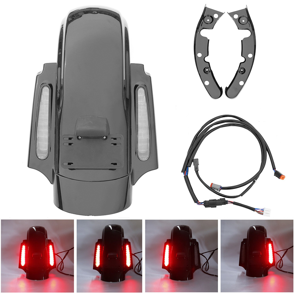 For Harley Touring Street Glide Road King Road Glide Electra Glide 2009-2013 CVO Style Rear Fender LED System FLHTP FLHTCU FLHRC touring saddlebag hardware for harley touring model 1993 2013 hard bags flt flht flhtcu flhrc road king road glide etc